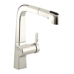 """Kohler - Evoke® Single-hole Kitchen Sink Faucet With 9"""" Pullout Spout                   , - •Single lever handle is simple to use and makes adjusting water temperature easy."""