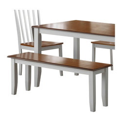 Boraam - Boraam Bloomington Bench in White/Honey Oak - Boraam - Kitchen Benches - 22032 - A sturdy bench with a versatile appearance and rich color finish is exactly what you'll find here. The Bloomington bench is the perfect size for you to use as additional seating at your table or a place to sit in your entry way, mud room, and more. Engineered with solid hardwood and precision construction, equals a durable bench that you can rely on. Additional stability is also provided through the shaker style legs. Its smooth lines and handsome appearance will undoubtedly boost the ambience of any room in your home. Plus, its attractive two-toned color finish, makes it easy to pair this bench with anyone's interior decor taste. However if you're looking to update your dining area, we recommend to combine this Bloomington Bench with the Bloomington chairs and Bloomington table in a perfect-match color finish to make a complete 6 piece set!
