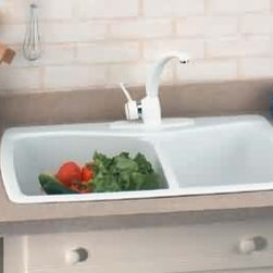 White Carea Double Kitchen Sink - Heat, shock, and stain-resistant, this easy-care white double sink is an excellent choice with its clean good looks and simple lines.