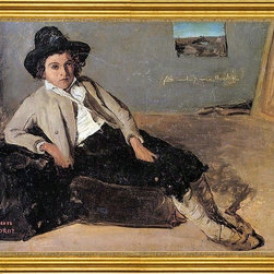 """Jean-Baptiste-Camille Corot-18""""x24"""" Framed Canvas - 18"""" x 24"""" Jean-Baptiste-Camille Corot Italian Youth Sitting in Corot's Room in Room framed premium canvas print reproduced to meet museum quality standards. Our museum quality canvas prints are produced using high-precision print technology for a more accurate reproduction printed on high quality canvas with fade-resistant, archival inks. Our progressive business model allows us to offer works of art to you at the best wholesale pricing, significantly less than art gallery prices, affordable to all. This artwork is hand stretched onto wooden stretcher bars, then mounted into our 3"""" wide gold finish frame with black panel by one of our expert framers. Our framed canvas print comes with hardware, ready to hang on your wall.  We present a comprehensive collection of exceptional canvas art reproductions by Jean-Baptiste-Camille Corot."""