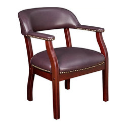 Regency - Regency Ivy League Captain Chair in Burgundy - Regency - Club Chairs - 9004BY - Feel like a boss when you sit down on the regency burgundy ivy league captain chair. This wonderful chair has a vinyl upholstery that extends to the arms. The curved frame is made from various wooden materials such as hardwood and veneers. A dark mahogany finish covers the entire wooden frame of this classic style chair.