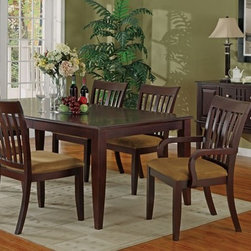 7 Pieces Contemporary Style Cherry Wood Dining Table Set - Set Includes 1 Dining Table, 2 Arm Chair and 4 Side Chair