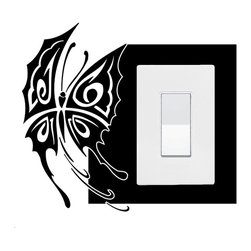 StickONmania - Lightswitch Butterfly Motif #2 Sticker - A vinyl sticker decal to decorate a lightswitch.  Decorate your home with original vinyl decals made to order in our shop located in the USA. We only use the best equipment and materials to guarantee the everlasting quality of each vinyl sticker. Our original wall art design stickers are easy to apply on most flat surfaces, including slightly textured walls, windows, mirrors, or any smooth surface. Some wall decals may come in multiple pieces due to the size of the design, different sizes of most of our vinyl stickers are available, please message us for a quote. Interior wall decor stickers come with a MATTE finish that is easier to remove from painted surfaces but Exterior stickers for cars,  bathrooms and refrigerators come with a stickier GLOSSY finish that can also be used for exterior purposes. We DO NOT recommend using glossy finish stickers on walls. All of our Vinyl wall decals are removable but not re-positionable, simply peel and stick, no glue or chemicals needed. Our decals always come with instructions and if you order from Houzz we will always add a small thank you gift.