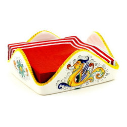 Artistica - Hand Made in Italy - Raffaellesco: Square Napkins Holder - Raffaellesco Collection: Among the most popular and enduring Italian majolica patterns, the classic Raffaellesco traces its origin to 16th century, and the graceful arabesques of Raphael's famous frescoes.