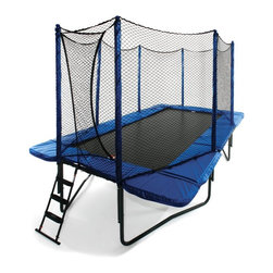 JumpSport - JumpSport 10 x 17 ft. Rectangle StagedBounce Trampoline with Enclosure Multicolo - Shop for Trampolines from Hayneedle.com! Turn your backyard into fun-central with the JumpSport 10 x 17 ft. Rectangle StageBounce System with Enclosure. The kids will love to jump and bounce til they're totally worn out and you'll love to take advantage of its never-boring cardio-boosting exercise. Included enclosure for added security.Additional information:Patented Triple-Fail-Safe engineering uses support systems to hold net in place and Permatron jumping mat fabricNarrow profile makes it great for small spaces and gymnast workouts12-guage frame for superior strength and performanceHigh-density security pad with StagedBounce technology and 92 high-performance springsHigh-strength looped straps and steel V rings create the strongest tear-proof constructionIncludes 10 x 17 safety enclosure with strap and shock cord suspension system to improve security shock-absorption and to help push jumpers back onto trampolinePatented overlapping entry: nothing to open or close for reduced fall-out incidentsPatented shock-absorbing padded steel poles flex on impactPatented shock-absorbing Ball-Caps at pole tops to prevent deterioration from UV exposurePatent-pending vinyl sleeves prevent pole foam from disintegrating10 rows of stitching and a UV-shield for ultimate security and weather resistanceHealth benefits include increased athleticism balance visual acuity training and conditioning spatial ability and overall cardiovascular healthHALS chemistry is exclusive for tensile strength and UV protectionAssembles easily with small hand tools with no cutting or drilling requiredTrampoline warranty information: Springs 5 years; Jumping mat fabric 5 years; Steel frame 10 years; Mat stitching/strapping 2 yearsSafety enclosure warranty: 1 year limited manufacturer's warranty 90 days on the nettingAbout JumpSport Inc.A world leader in trampoline and product safety JumpSport Inc. was created ou