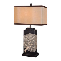 Kenroy - Kenroy KR-32296ORB Sea Fan Table Lamp - Derived from nature 's majesty,  the Sea Fan Lamp's delicate creamy pattern on ORB base, wraps around to offer its chic view to all sides. Substantial in size at 30' high, Sea Fan avoids a bulky appearance by the slim side angle of the rectangular frame.  Sized for Living Aras and equally at home in Classic or Casual environments,  Sea Fan brings its welcoming beauty to any decor.