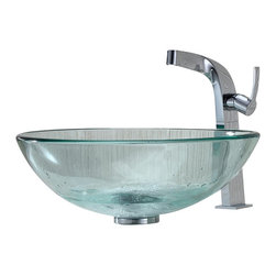Kraus - Kraus Clear Glass Vessel Sink and Typhon Faucet - Add a touch of elegance to your bathroom with a glass sink combo from Kraus.