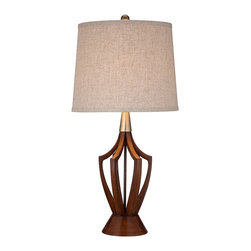 "Lamps Plus - Contemporary St. Claire Wood Finish Mid-Century Modern Table Lamp - A Mid-Century style table lamp can give your room an immediate style makeover. This design features a spectacular open base in warm wood finish topped by a brass finish accent. A taupe fabric drum shade adds a retro style accent to this classic look. Resin construction. Wood finish. Taupe drum shade. One maximum 150 watt bulb (not included). 31"" high. Shade is 13"" across the top 15"" across the bottom and 12"" high.  Resin construction.   Wood finish.    Taupe drum shade.   One maximum 150 watt bulb (not included).   31"" high.   Shade is 13"" across the top 15"" across the bottom and 12"" high."