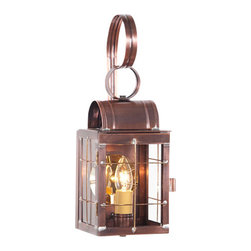 Irvin's Tinware - Single Outdoor Wall Lantern in Weathered Brass, Antique Copper - Evoking thoughts of the carriage houses of days gone by, this single wall lantern is perfectly suited by the side door or on your modern carriage house.