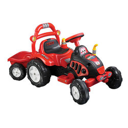 """Lil' Rider - Farm 'N Fun Tractor and Trailer with Battery Powered - Features: -Toy. -Colors: Red and Yellow. -Comes with special trailer for carrying toys or dirt. -Washable tires and body. -Special trailer included. -Rechargeable battery powered. -Charge for 10-12 hours for 1-2 hours of continuous use. -Battery: 6V 4.5AH. -Speed: 2.5 mph. -Forward and reverse action. -Weight capacity: 88 lbs. -Ages: 3-8 years. -30 days warranty. -Assembly required. -Material: Plastic. -Dimensions: 23.23"""" H x 21.26"""" W x 46.46"""" D."""