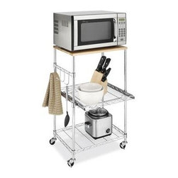 "Whitmor - Supreme Microwave Cart - Whitmor Supreme Microwave Cart - Dimensions: 16"" x 22.5"" x 34"" - Easy no tool assembly.  Durable chrome steel and removable birch wood top.  Locking wheels.  Slide out middle shelf.  Side hooks.  This item cannot be shipped to APO/FPO addresses. Please accept our apologies."