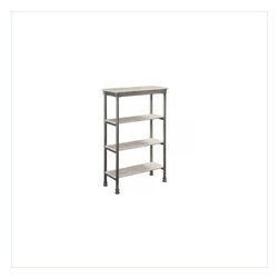 Home Styles - Home Styles The Orleans Four Tier Shelf in Gray and Marble - Home Styles - Bookcases - 5760101 - Inspired by 18th century French Creole Cottages the slotted shelves with casted fitted feet and capped legs are reminiscent of French Quarter architecture. The Orleans Four Tier Shelf by Home Styles is constructed of powder-coated metal with marble laminate shelves. This multifaceted storage shelf will meet all your storage needs and will complement any bathroom.  The Four Tier Shelf is equipped with four 20.75 inches by 7.75 inches fixed shelves.  Other features include levelers on the feet for added stability.