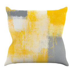 """Kess InHouse - CarolLynn Tice """"Breakfast"""" Grey Gold Throw Pillow (18"""" x 18"""") - Rest among the art you love. Transform your hang out room into a hip gallery, that's also comfortable. With this pillow you can create an environment that reflects your unique style. It's amazing what a throw pillow can do to complete a room. (Kess InHouse is not responsible for pillow fighting that may occur as the result of creative stimulation)."""