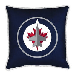 Sports Coverage - NHL Winnipeg Jets Toss Pillow - Sidelines Design - Coordinating Winnipeg Jets Toss pillow to match jersey material logo Comforter. Each pillow is made from 100% polyester jersey material (just like the athlete's wear). Pillow features large team logo in the center of the pillow, as well as a strip of mesh trim around it.