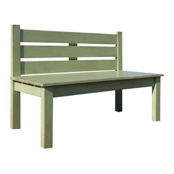 Fable Porch Furniture - Primitive Slat Bench in Celery Green - With this quaint slat bench in your bedroom or living room, you'll have all the peace and quiet of a summer afternoon in the park. So just sit back, relax and watch the world go by.
