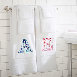 PBT Classic Organic Cheetah Applique Bath Towels - Dry off on the double with these soft, absorbent, eco-friendly towels. An appliqué of your favorite initial in a wild cheetah print lets everyone know which towel is yours.