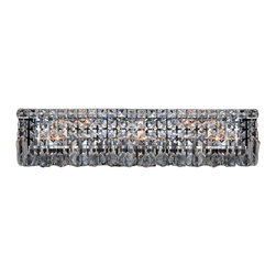 "Worldwide Lighting - Cascade 6-Light Chrome Finish Crystal Vanity Light Wall Sconce Light 24"" W - This stunning 6-light Vanity Light only uses the best quality material and workmanship ensuring a beautiful heirloom quality piece. Featuring a radiant chrome finish and finely cut premium grade crystals with a lead content of 30%, this elegant vanity light will give any room sparkle and glamour."