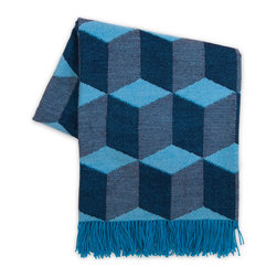 Cubes Throw, Navy and Light Blue - Cube patterns can make me dizzy, but I love the one on this throw.