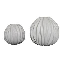 Bahari - Porcelain Napali Vase, Small - Porcelain Napali Vase in white matte finish