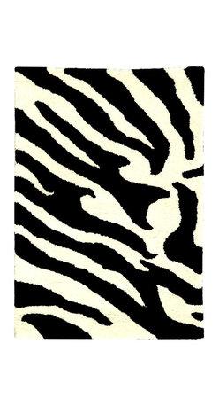 Safavieh - Zebra Print Hand-Tufted Wool Rug (5 ft. x 8 ft.) - Size: 5 ft. x 8 ft.. Hand Tufted. Made of Wool. Made in India.
