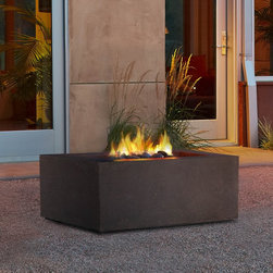 Real Flame Baltic Square Propane Fire Table Real Flame Baltic Square Propane Fir - A durable, great looking Real Flame Baltic Square Propane Fire Table priced just right. Cast from a high performance, lightweight fiber-concrete with an outdoor safe finish, this fire table comes complete with lava rock filler and a matching lid for when the burner is not in use. This product carries the CSA certification and convenient electronic ignition as all Real Flame products do.