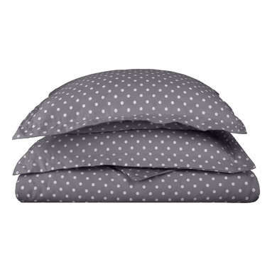 600 Thread Count Full/Queen Duvet Set Cotton Rich Polka Dot - Grey - With these Cotton Rich 600 Thread Count Polka-Dot Duvet Cover Sets you can liven up the look of your bedroom. Featuring playful polka dot design on both sides, these duvet cover create a fun and stylish look that will keep your room looking awesome all year-round. Set includes One Duvet Cover 90x92 and Two Pillow-shams 20x26 each.