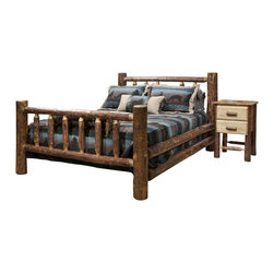 "Montana Woodworks - Montana Woodworks 2-Piece Log Bedroom Set in Glacier Country - This classic, spindle style log bed has graced American homes throughout the land. A wonderful addition to any rustic style home or any home in need of some rustic style, this bed is as comfortable as it is charming. Handcrafted in Montana using solid, American grown wood, each piece is finished in the unique ""Glacier Country"" collection style reminiscent of the Grand Lodges of the Rockies, circa 1900. First we remove the outer bark but leave the inner, cambium layer intact for contrast and texture. Final steps include staining and lacquering in a professional eight step spraying process, making this piece as unique as it is functional. The mortise and tenon joinery system employed by our artisans has been used for millennia to join multiple components into a single, solid and strong assembly thus ensuring a truly heirloom quality piece that will last for generations to come. Two log side rails per side increase the strength and rigidity while simultaneously adding value. Some assembly required. 20-year limited warranty included at no additional charge."