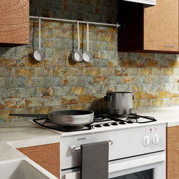 Crag Subway Sunset 11-3/4 in. x 11-3/4 in. x 9 mm Slate Mosaic Floor and Wall Ti - The Merola Tile Crag Subway Sunset 11-3/4 in. x 11-3/4 in. x 9 mm Slate Mosaic Floor and Wall Tile is a rustic and pleasing blend of organically neutral tones in natural stone. The rich color variance and individualistic striation within this natural slate tile add depth and raw beauty. The wide range of color makes it an optimal companion for just about any décor. This tile is impervious to water and frost resistant, ideal for bathrooms, backsplashes, and exterior work. Photo by Merola Tile