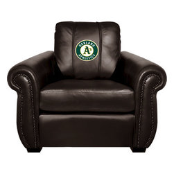 Dreamseat Inc. - Oakland Athletics MLB Chesapeake Black Leather Arm Chair - Check out this Awesome Arm Chair. It's the ultimate in traditional styled home leather furniture, and it's one of the coolest things we've ever seen. This is unbelievably comfortable - once you're in it, you won't want to get up. Features a zip-in-zip-out logo panel embroidered with 70,000 stitches. Converts from a solid color to custom-logo furniture in seconds - perfect for a shared or multi-purpose room. Root for several teams? Simply swap the panels out when the seasons change. This is a true statement piece that is perfect for your Man Cave, Game Room, basement or garage.