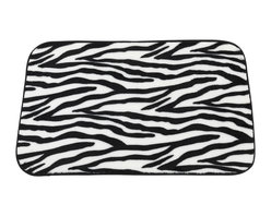 """Faux Fur Bath Mat, Zebra - """"Zebra"""" Faux Fur Bath Mat, Size 20""""x31"""". Step into the wild after every shower with our """"Zebra"""" Print Faux Fur Bath Mat. This Large-Sized (20'' w x 31'' l) bath mat is soft, fast drying, and has a slip-resistant latex backing for added protection. Part of our Animal Instincts Collection, this mat coordinates perfectly with either our """"Savanna"""" or """"Serengeti"""" Faux Fur Shower Curtains as well as our """"Zebra"""" Resin Shower Curtain Hooks, each sold separately.     Machine wash in warm water, line dry, reshape as needed"""