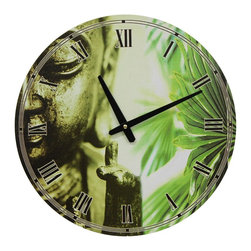 Oriental Furniture - Golden Buddha Wall Clock - Round wall clock, over a foot in diameter. Clock face features a close-up of a Buddha statue alongside an image of bright green palms. A practical Asian accent for the living room, kitchen, or office.