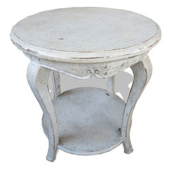 Flor Accent Table, Weathered Creams, Gray, and Gold Leaf - Flor Accent Table, Weathered Creams, Gray, and Gold Leaf