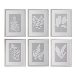 Uttermost - Uttermost Moonlight Ferns 26x20 Rectangular Framed Art (Set of 6) - Prints are Accented by Double V-grooved, White Mats and Surrounded by Frames with a Silver Leaf Base and Champagne Wash.