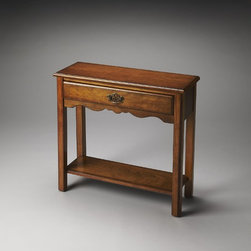 Butler - Butler Plantation Cherry Stratford Console Table In Olive Ash Burl - Selected solid woods  wood products and choice cherry veneers. Cherry veneer top  sides  drawer front  apron and lower shelf. Drawer with antique brass finished hardware.