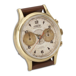Uttermost - Wristwatch Alarm Round Aureole - Brass Rim With Leather Stand. Requires 1-aa Battery.