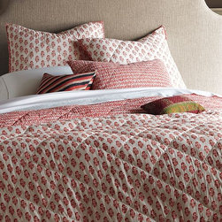 Hand-Blocked Jaipur Quilt + Shams - I love the hand-printed flower motif on these gorgeous textiles, and the diamond pattern on the other side offers more saturated color should you care to switch things up.