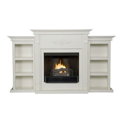 """Holly & Martin - Holly & Martin Fredricksburg Gel Fireplace w/ Bookcases, Ivory, 70.25""""w X 14""""d X - If you are looking for an elegant accessory for your home, this is the piece for you. This beautiful and functional gel fuel fireplace features an ivory finish that looks great in any room that you place it in. A classic floral design is carved across the top of this fireplace, above the firebox. A bookcase on either side of the fireplace provides space and storage for all of your favorite readings, media and home decor accessories. Requiring no electrician or contractor for installation allows instant remodeling without the usual mess or expense. In addition to your living room or bedroom, try placing this fireplace in your home office. Use this great functional fireplace to make your home a more welcoming environment."""