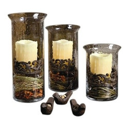 GG Collection - The GG Collection Glass/Metal Cylinder Candle Holder, Large - The GG Collection Large Glass/Metal Cylinder Candle Holder