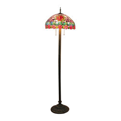20 Inch Purple Tiffany Style Floor Lamp - The best Tiffany-style lamps are the ones that bring beauty, warmth and antique style into your space. This eye-catching Tiffany style floor lamp features an expertly handcrafted shade made of pieces of stained glass in a versatile hues. A sturdy coordinating base makes a perfect complement to the shade.
