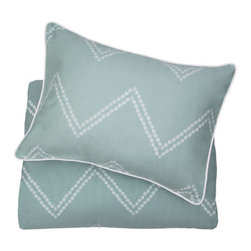 The Cora Green - Redecorate with this chevron duvet cover to instantly transform your bedroom. With beautifully illustrated dots lined perfectly to graphically create a large scale zigzag pattern, the Cora Green Chevron bedding set is our freshest and most sophisticated take on the chevron pattern.