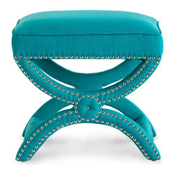 Tennyson Stool - Turquoise - Riveting, Striking and seductive, the Tennyson Stool has an allure all its own. Place one in your walk in closet, or perhaps in your living area for maximum adoration. This fully upholstered stool in bold turquoise boasts classic curves with its x-bench design and is accentuated with nickel studs that bring this small but mighty stool to life.