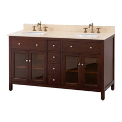 """Avanity Corporation - Lexington 60 in. Double Sink Vanity w Top and - Choose Stone Sink Top: Black GraniteBirch solid wood and veneer in Light Espresso finish. Brushed nickel finished hardware. 4 Soft-close doors . 2 adjustable shelves. 3 Soft-close drawers. Stone countertop and backsplash. Top pre-drilled for 8"""" widespread faucet. Dual white vitreous china undermount sinks included. Adjustable height levelers . Faucet and drains not included . 61 in. W x 22 in. D x 35in. HThe Lexington 60 in. vanity in light espresso is a beautiful combination of modern and traditional design.  Constructed of solid birch wood and birch veneers, tinted glass doors, brushed nickel hardware, soft-close drawer guides and hinges."""