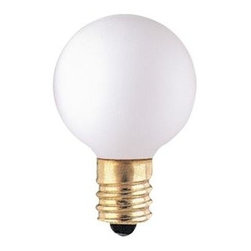 Bulbrite - Globe Light Bulbs in Matte White - 25 Bulbs - One pack of 25 Bulbs. 130V candelabra E12 base incandescent G9 bulb type. Dimmable. Ideal for commercial and decorative lighting in amusement parks, signs, and displays. Color temperature: 2700K. Wattage: 10 watt. Average hours: 2500. Lumens: 50. Equivalency: 10 watts. Color rendering index: 100. 360 degrees beam spread. 1.5 in. Dia. x 1.88 in. H