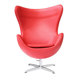Lemoderno - Egg Chair In Leather by Lemoderno, Red Leather - This wonderful chair features a molded fiberglass frame, fire retardant polyurethane foam padding, and covered with 100% Italian leather. This item is a high quality reproduction of the original.