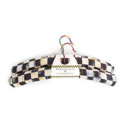 Courtly Check Hangers - Set of 2 | MacKenzie-Childs - Practical yet beautiful decorative storage. With such stylish organization, you might find yourself leaving the closet doors open! Printed with our signature Courtly Check pattern on linen, and accented with a bright stripe.