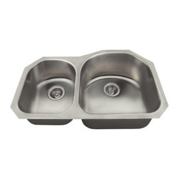 """PolarisSinks - Polaris PR1301US Offset Double Bowl Stainless Steel Sink - Our collection of US made stainless steel kitchen sinks is made from 300-series stainless steel. The surface has a brushed satin finish to help mask small scratches that occur over time and keep your sink looking beautiful for years. The overall dimensions of the P0301US are 31 1/2"""" x 18 1/4"""" x 9"""" and a 33"""" minimum cabinet size is required. This sink contains a 3 1/2"""" Centered drain, is fully insulated and comes with sound-dampening pads. As always, our stainless steel sinks are covered under a Limited lifetime warranty for as long as you own the sink."""