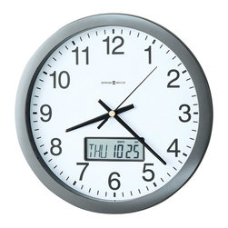 """Howard Miller - Howard Miller - Chronicle Wall Clock - This easy to read 14"""" diameter Digital Multi-Functional Time and Calendar Wall Clock with Metallic Gray Finish features an LCD calendar in the dial that displays the month, date, and day of the week. A battery-operated Quartz movement ensures accurate operation. * Metallic gray wall clock with a flat bezel framing the dial. Face of the clock is made of glass. White dial with large black Arabic numerals, black hour, minute and second hands beneath a glass crystal. . LCD calendar in the dial displays the month, date, and day of the week. . Quartz, battery operated movement. . D. 2"""" (5 cm). Dia. 14"""" (36 cm)"""