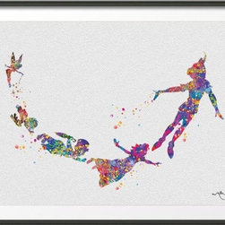 KidsPlayHome - Peter Pan Kids Wall Art, 8 X 11 - Playroom Art Print