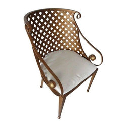 Used Lane Copper Colored Lattice Metal Barrel Chair - This is an unusual occasional chair with a curved back and rounded arms. Made by Lane Furniture. It would be a great conversation piece in any home.  It comes with a chair pad. Although it looks like an outdoor chair, it is an indoor chair and has been used as one.