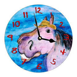 USA - Silver Pony Wall Clock - Enjoy passing time with my dye sublimated art work on a beautiful 11.25'' hard board clock with a wonderful glossy finish. Clocks are a durable 1/4 '' thick and require a AA battery not included. Made in the USA